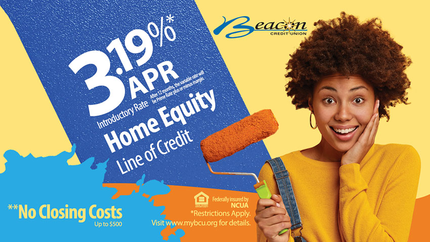Three point one nine percent APR HELOC Promo. African American woman holding paint roller.