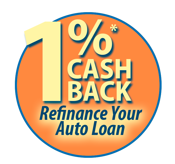 circle with cash back auto loan text promotion