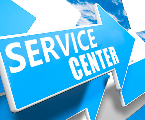 Picture of Service Center text on symbol with arrow.